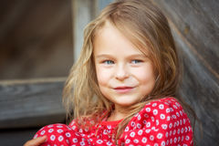 Little girl in red dress Royalty Free Stock Images