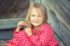 Little girl in red dress Royalty Free Stock Photo