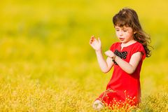Little girl in a red dress Stock Photos