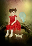 Little girl in a red dress royalty free illustration