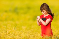 Little girl in a red dress Royalty Free Stock Photography