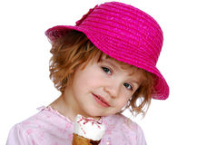 Little girl with red hat and ice cream Royalty Free Stock Photography