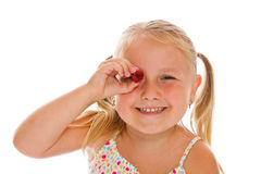 Little girl with red heart Stock Image