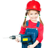 Little girl in red helmet. Smiling Little girl in a red helmet with drill isolated on a over white Royalty Free Stock Images