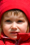 Little girl in red jacket close-up Royalty Free Stock Photos