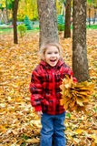 Little girl in a red jacket with leaves Royalty Free Stock Photography