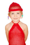 Little girl in red knitted hat and dress Royalty Free Stock Photography