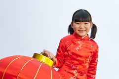 Red lanterns little girl Royalty Free Stock Image