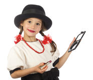 Little girl with red lipstick Stock Photo