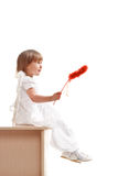 Little girl with red magic wand Royalty Free Stock Image