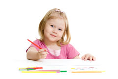 Little girl with red pencil isolated Stock Photos