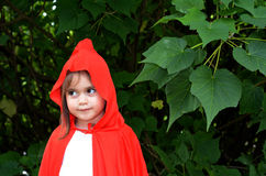 Little girl with Red Riding Hood costume Stock Images