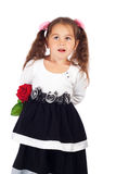 Little girl with red rose Royalty Free Stock Photography