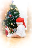 Little girl in red Santa hat Royalty Free Stock Photo
