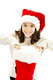 Little girl in red Santa hat Royalty Free Stock Photos