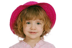 Little girl with red straw hat Royalty Free Stock Photos