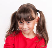 Little girl in a red T-shirt Royalty Free Stock Photography