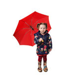 Little girl with red umbrella Royalty Free Stock Image