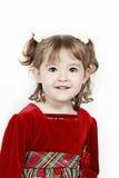 Little Girl Red Velvet Dress Stock Photography