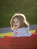 Little girl in a red wagon Royalty Free Stock Images