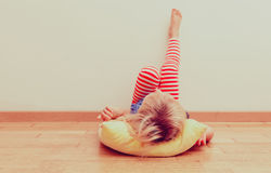 Little girl relax at home stock image