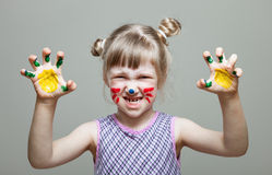 Little girl represents as small cat. Funny little girl represents as small cat Stock Photography
