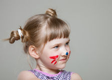 Little girl represents as small cat. Funny little girl represents as small cat Royalty Free Stock Photo