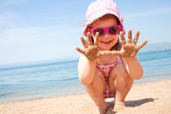 Little girl at resort on sea Royalty Free Stock Photo