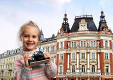 Little girl with retro camera Royalty Free Stock Photos