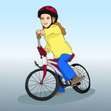 Little girl rides a bicycle. Sports lifestyle. Hobby. Children's illustration. Vector Royalty Free Stock Photos