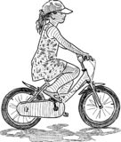 A little girl rides a bicycle. Vector sketch of a little girl biking vector illustration