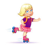 Little girl rides on roller skates Stock Image