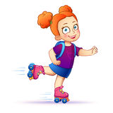 Little girl rides on roller skates.Teen enjoy the Stock Photos