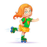 Little girl rides on roller skates Stock Image