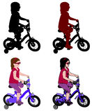 Little girl riding bicycle silhouette and illustration Stock Image