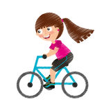 Little girl riding bicycle Stock Image