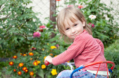 Little girl riding bike Royalty Free Stock Photography