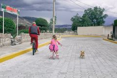 Little girl riding a bike with dad and with a chihuahua dog outdoors. royalty free stock image