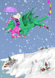 Little girl riding a dragon in snow storm. Little girl riding a green dragon, flying in the sky in a snowing over a blue background, 3D illustration, raster Stock Images