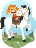 Little girl riding horse illustration. Illustration cartoon Royalty Free Stock Photography