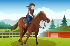 Little girl riding a horse. A vector illustration of little girl riding a horse Royalty Free Stock Photos