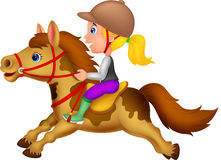 Little girl riding a pony horse. Illustration of Little girl riding a pony horse Royalty Free Stock Photography