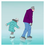 Little girl at rink wants to overtake big man. Stock Photo