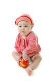 Little girl with ripe red apple Royalty Free Stock Photos