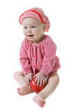 Little girl with ripe red apple Royalty Free Stock Image