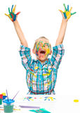 Little girl is rising her hands up in joy Royalty Free Stock Images