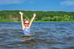 Little girl at river Royalty Free Stock Photography