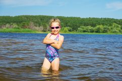 Little girl at river Stock Image