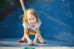 Little girl in  rock climbing gym Royalty Free Stock Photos