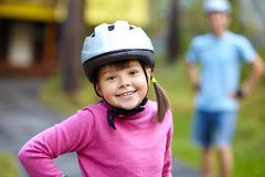 Little girl in roller skates at a park Stock Images